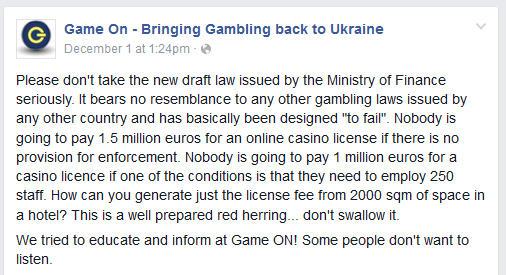 Public Opinions on Ukrainian Gaming Law Draft