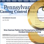Nine Pennsylvania casinos apply for online gambling licenses
