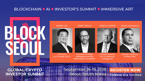 Block Seoul assembles industry leaders, David Paterson, Lt. General James Clapper, Bobby Lee, and Jung-Hee Ryu PH.D with others to elevate the discussion of Blockchain, AI, Immersive art on how human connect
